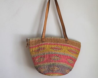 vintage market bag - NEW MEXICO tribal sisal purse