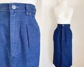 Vintage 1980s Dark Blue Denim Pencil Skirt 28 quot waist