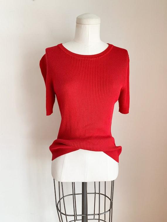 Vintage 1990s Red Silk Ribbed Top / M