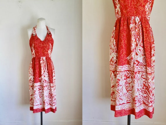 Vintage early 1960s Batik Halter Sundress / XS - image 1