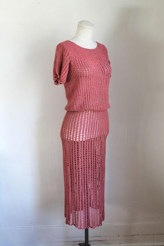 vintage 1930s rose crochet dress / XS - image 4