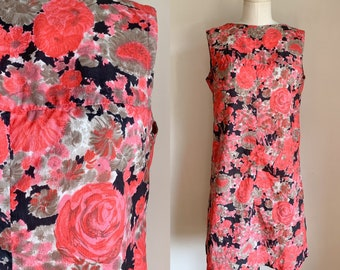 Vintage 1960s Coral Pink Floral Dress / M