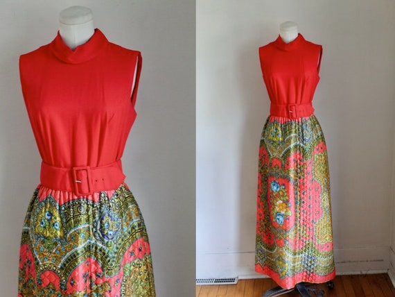 Vintage 1970s Quilted Psychedelic Maxi Dress / S