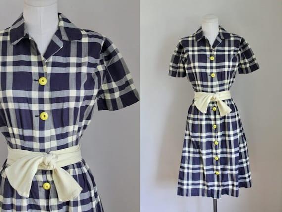 Vintage 1950s Pat Premo Checker Cotton Dress / XXS