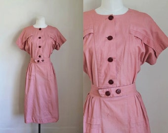 vintage 1930s dress - POPPY PINK day dress / M