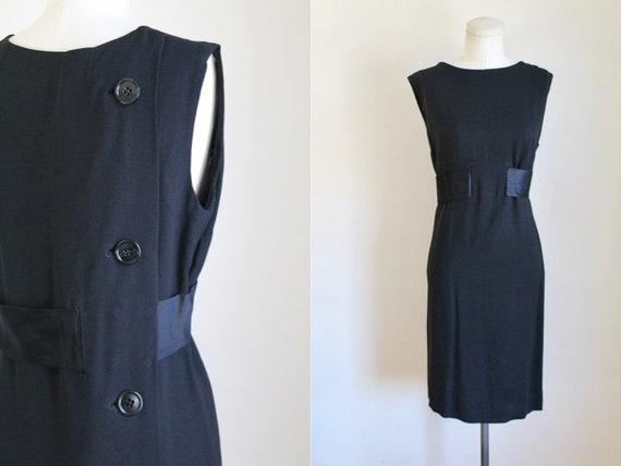 Vintage 1950s/60s Black Back Button Dress / L