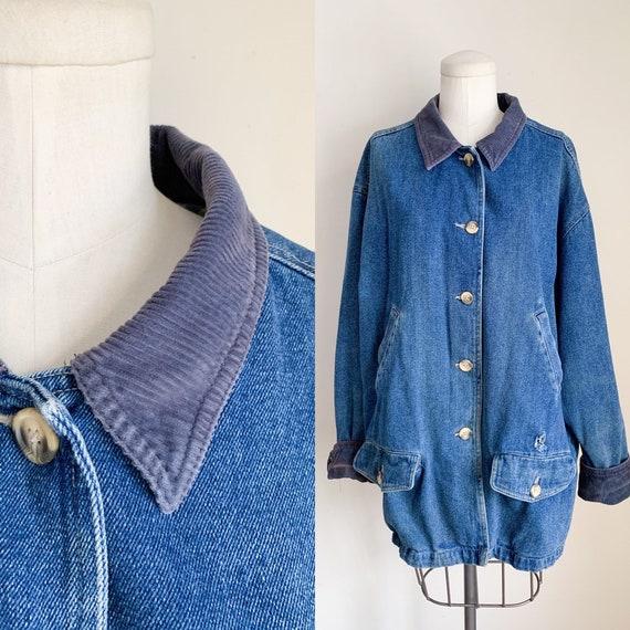 Vintage 1990s Denim & Corduroy Chore Jacket / men'