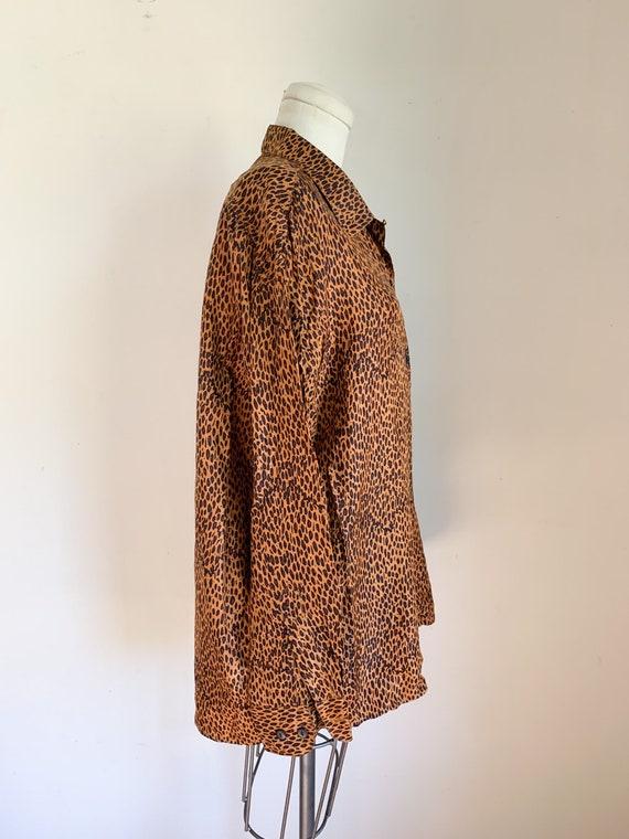 Vintage 1990s Leopard Print Blouse / L - image 6