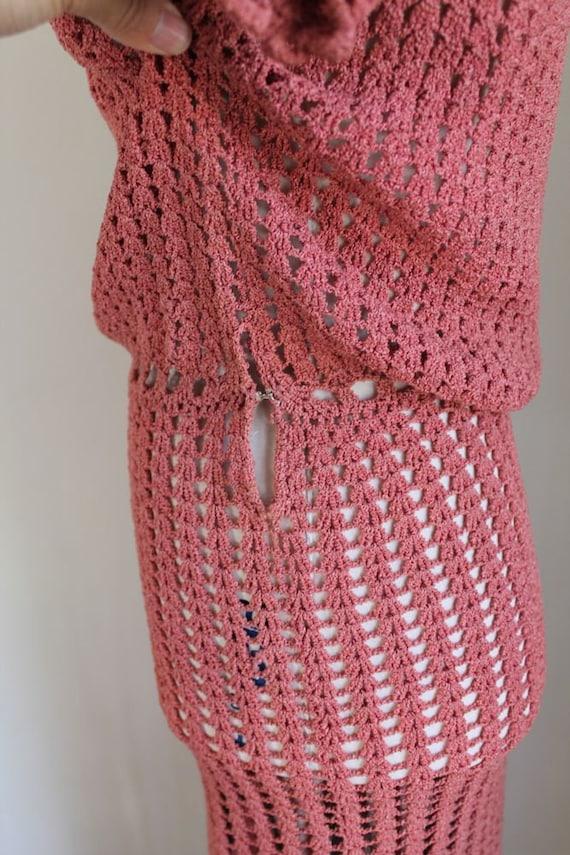 vintage 1930s rose crochet dress / XS - image 6