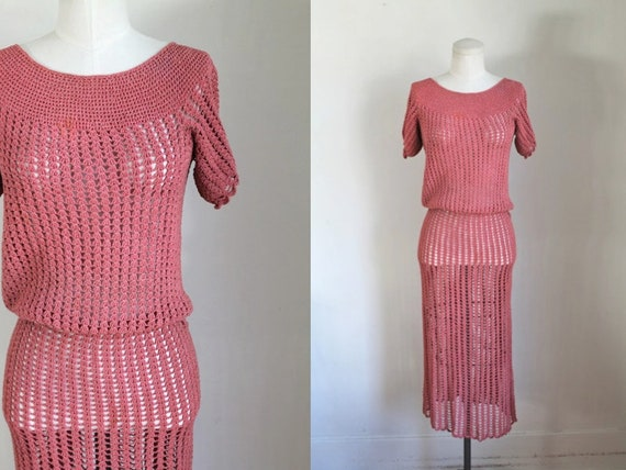 vintage 1930s rose crochet dress / XS