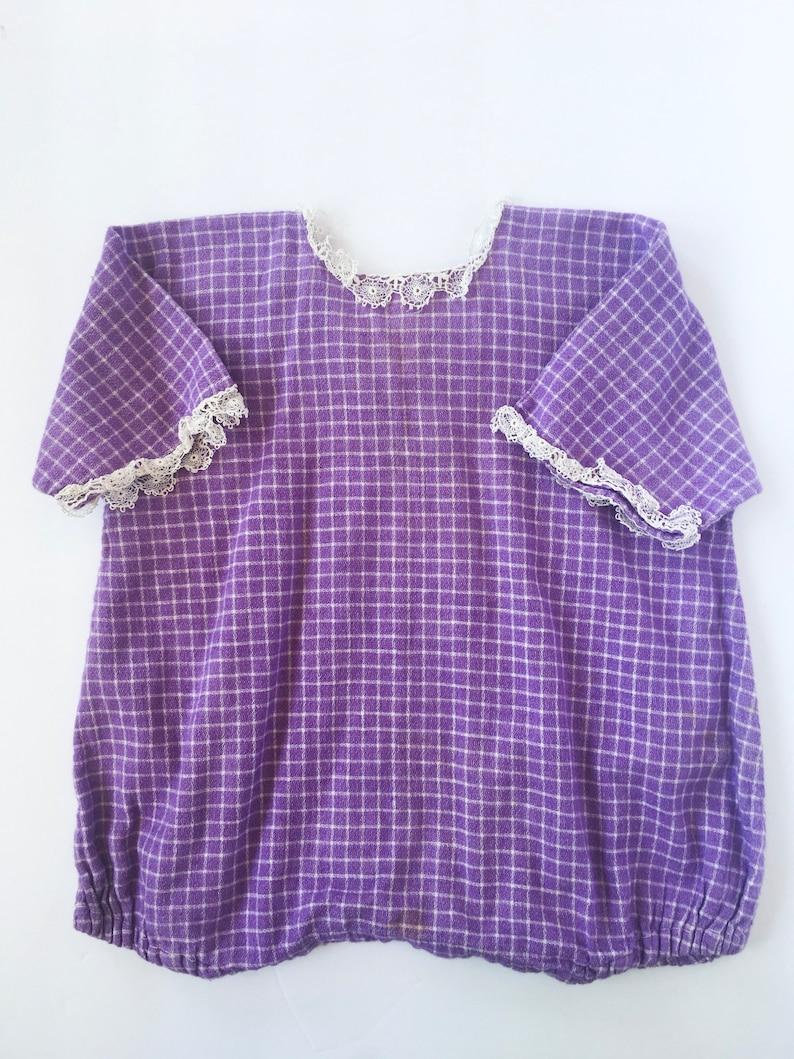 6b9d2854dfc7 Vintage toddler s 1920s purple plaid romper 12-18M