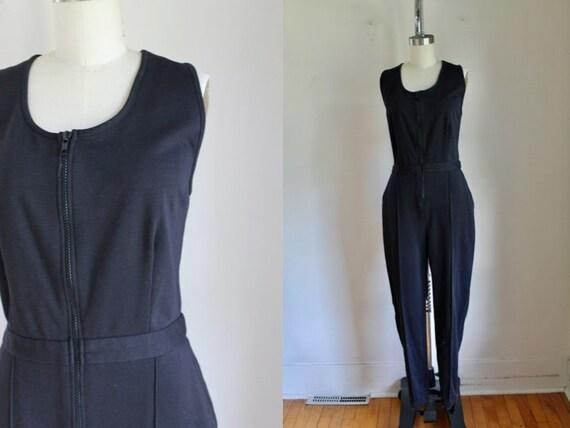 Vintage 1990s Black Cotton Jersey Jumpsuit / M