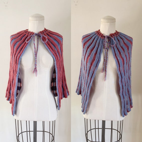Vintage 1930s Reversible Knitted Cape