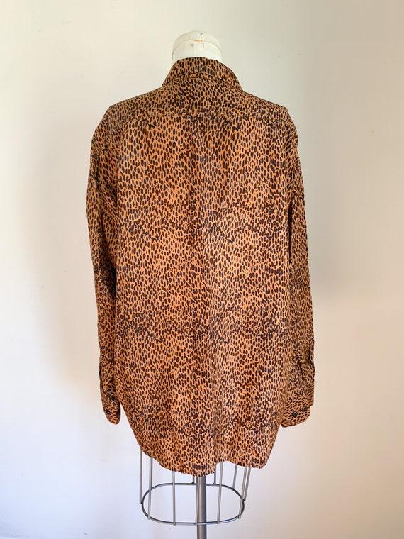 Vintage 1990s Leopard Print Blouse / L - image 7