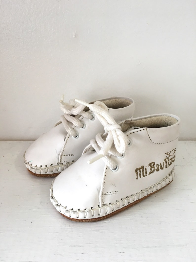 5797dd69d Vintage baby shoes MEXICAN MOCCASINS white leather shoes