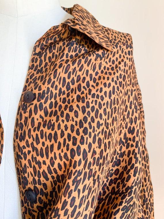 Vintage 1990s Leopard Print Blouse / L - image 2
