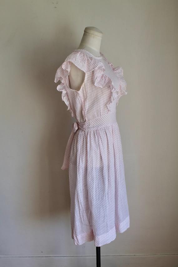 Vintage 1940s Pink & White Polka Dot Pinafore Dre… - image 5