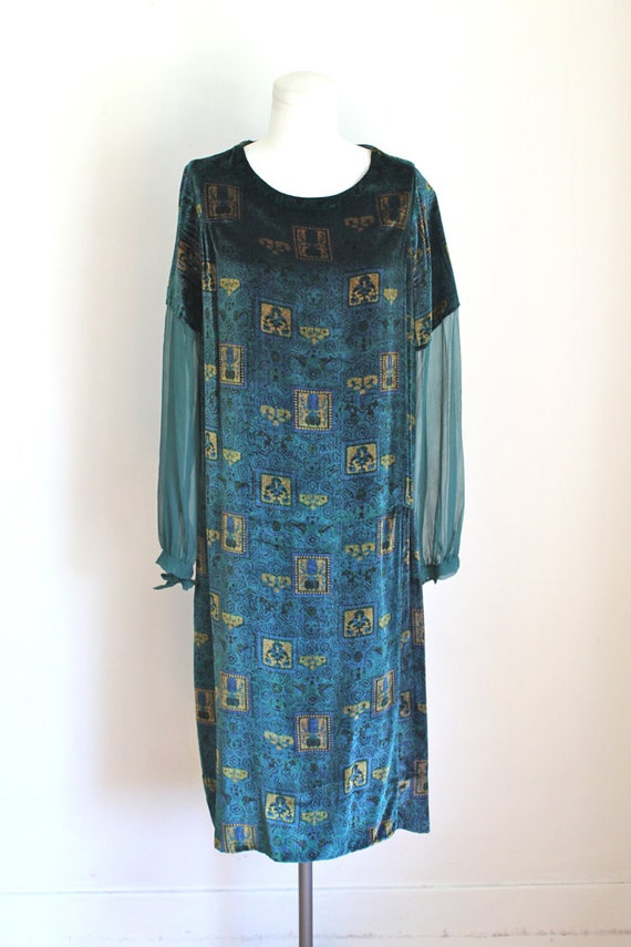 velvet vintage 1920s flapper dress gold blue amp; print PEACOCK silk dress deco M rgqEZFwr