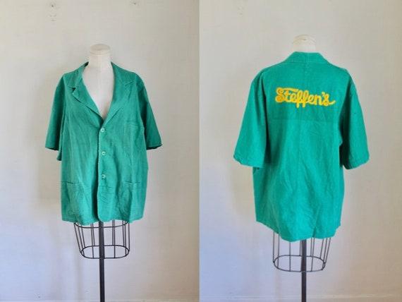 Vintage 1940s / 50s Teal Bowling Shirt / L-XL