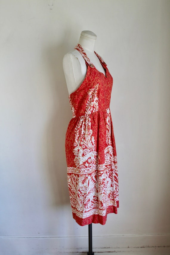Vintage early 1960s Batik Halter Sundress / XS - image 6