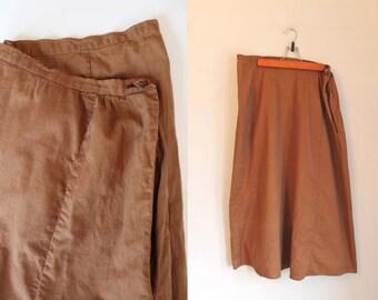 "edwardian 1910s petticoat - CHOCOLATE brown cotton skirt / 33"" waist / L"