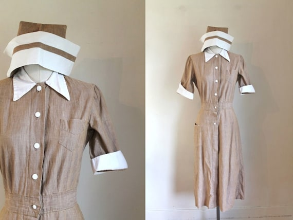 vintage 1940s Nurse Uniform Dress + Cap / XS