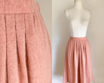 "Vintage 1980s Peach Mohair Knit Skirt / XS / 26"""
