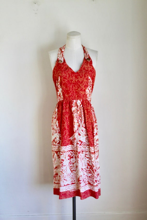 Vintage early 1960s Batik Halter Sundress / XS - image 2