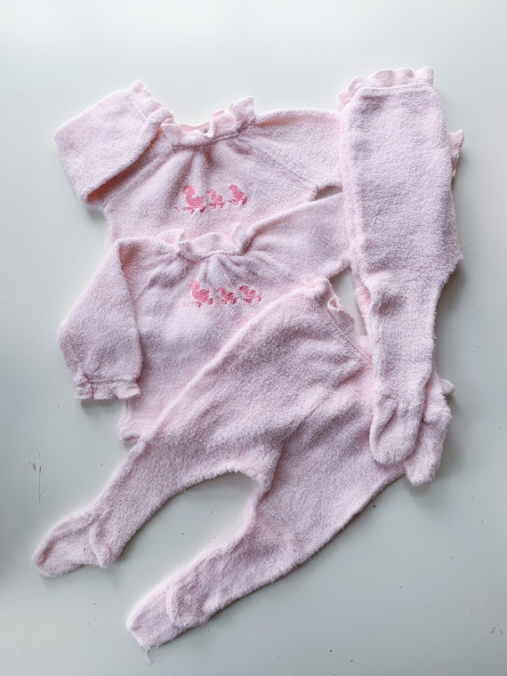 vintage lot of 2 Matching Pink Terry Cloth Pj sets