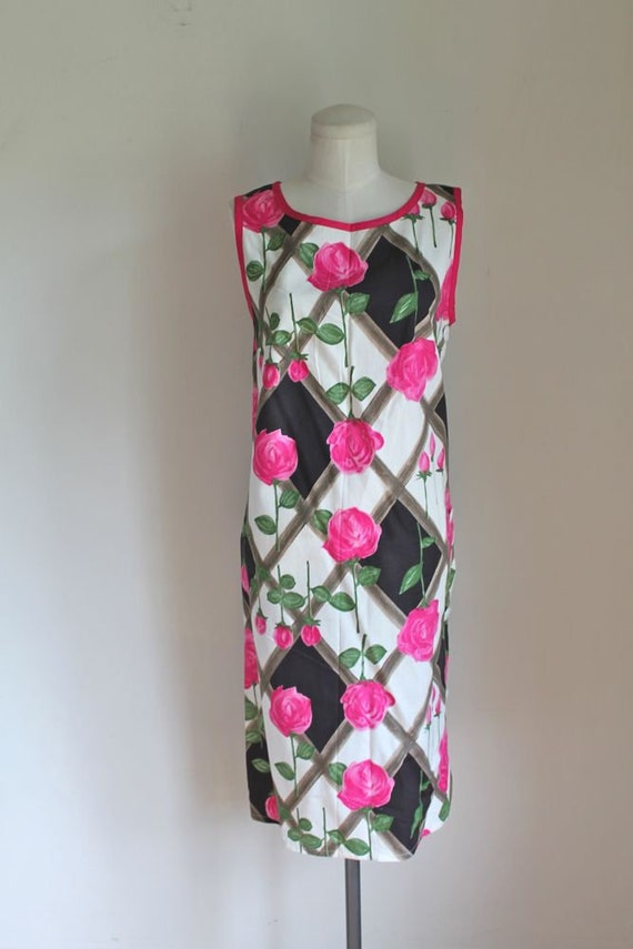 shift ROSE PINK 1960s vintage M dress dress w14zcvp