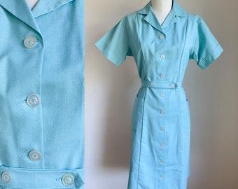 Vintage 1960s Blue Waitress / Nurse Uniform Dress / M
