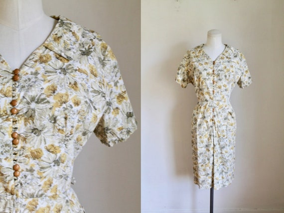 Vintage 1960s Yellow Floral Cotton Day Dress / M
