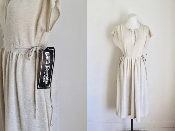 Vintage 1970s Young Edwardian Tan Knit Dress / S (