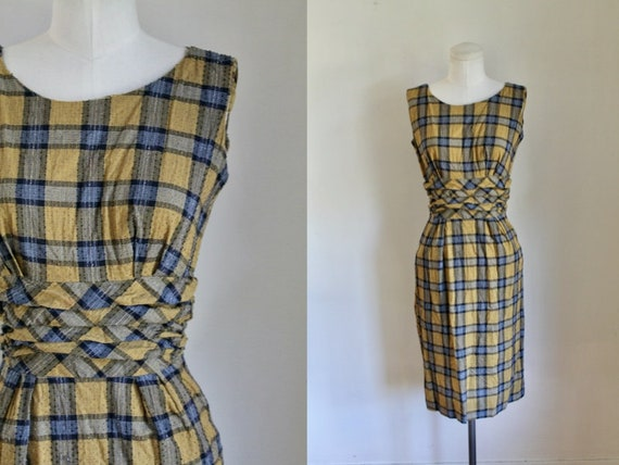 Vintage 1950s Mustard Plaid Cotton Dress / XS-S