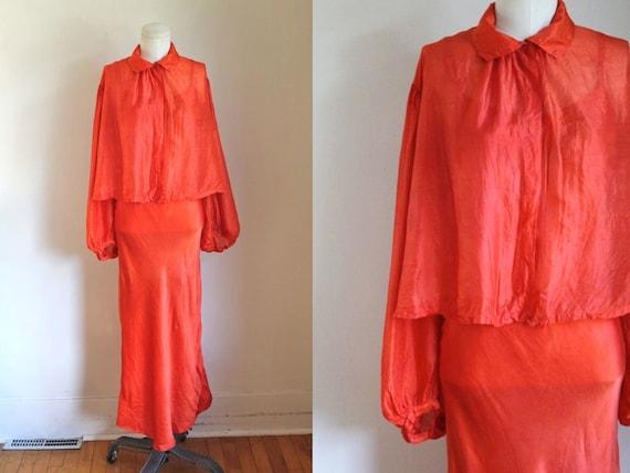 vintage 1930s pumpkin orange tissue silk dress set