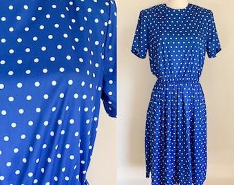 Vintage 1980s Blue & White Polkadot Day Dress / S/M