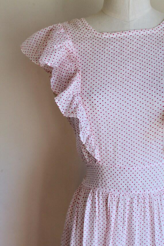 Vintage 1940s Pink & White Polka Dot Pinafore Dre… - image 4