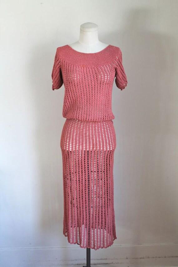 vintage 1930s rose crochet dress / XS - image 2