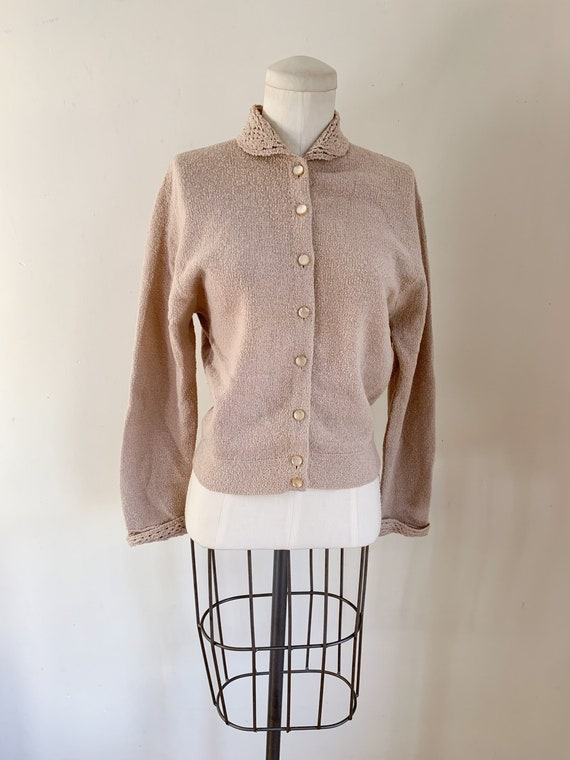 Vintage 1950s Oatmeal Wool Cardigan / M