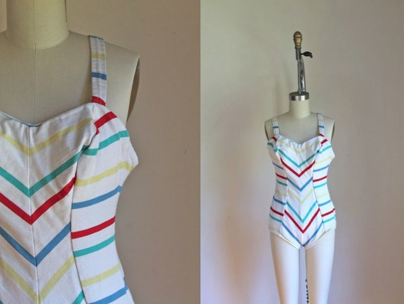 901cb8a9f3 Vintage 1950s swimsuit RAINBOW CHEVRON one piece bathing
