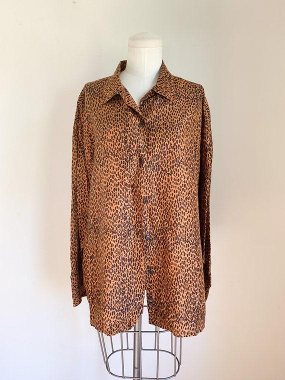 Vintage 1990s Leopard Print Blouse / L - image 3