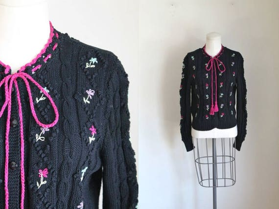 EDINA M folklore sweater RONAY 1970s cardigan cotton vintage PARFgpx