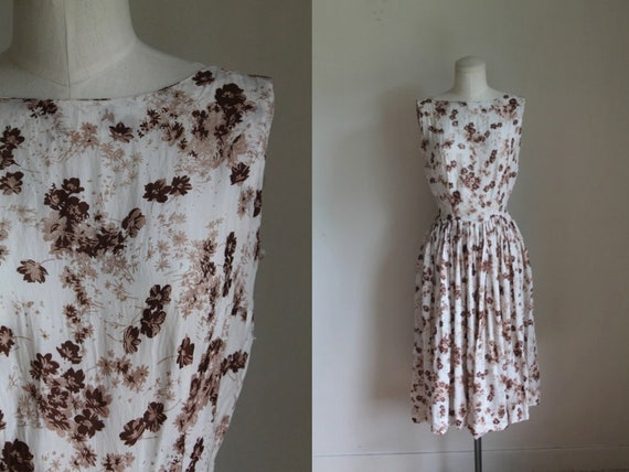 Vintage 1950s Cold Rayon Floral Dress • XS