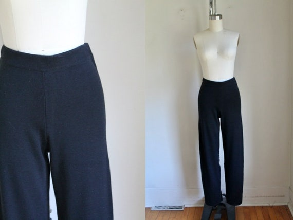Vintage 1990s Black Knit High Waisted Pants / S
