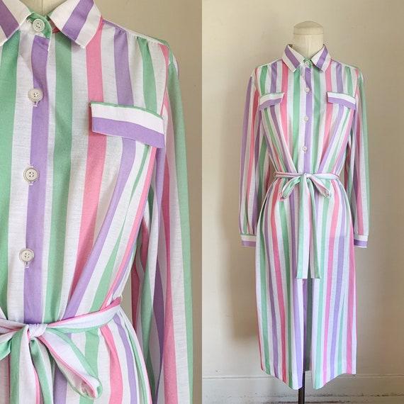 Vintage 1970s Candy Striped Shirt Dress / L - image 1