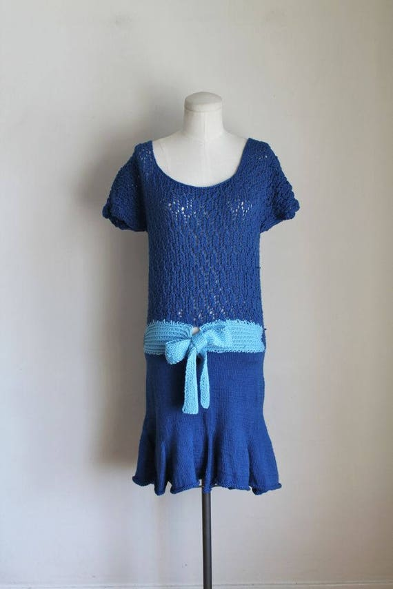vintage M FEBRUARY drop 1980s waist sweater S dress dress FLAPPER vzqfUTv