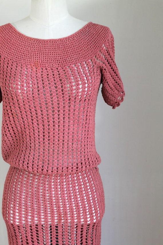 vintage 1930s rose crochet dress / XS - image 3