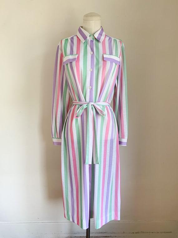 Vintage 1970s Candy Striped Shirt Dress / L - image 2