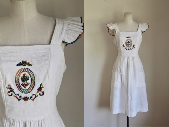 Vintage 1970s Gauze Embroidery Pinafore Dress / S