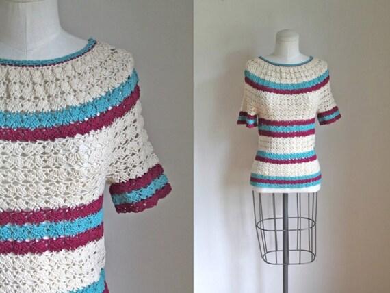 vintage 1940s Striped Crochet Top / XS-S